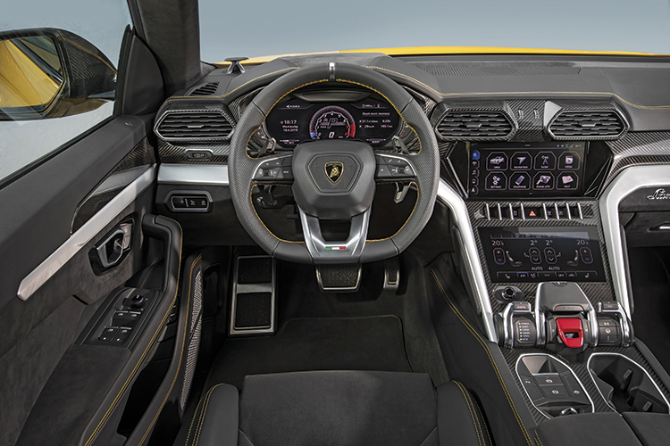 Lamborghini Urus cockpit is neater, better connected and much more accessible than the long slung ones in the Huracan and Aventador.