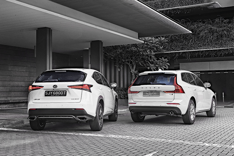 lexus nx300 and volvo xc60 t5 rear