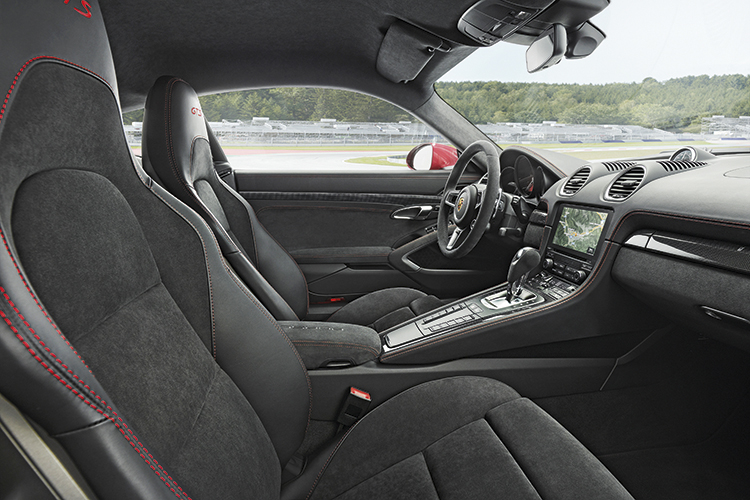 There is Alcantara aplenty in the latest Porsche 718 Cayman GTS cockpit, plus the standard-fit Sport Chrono package.