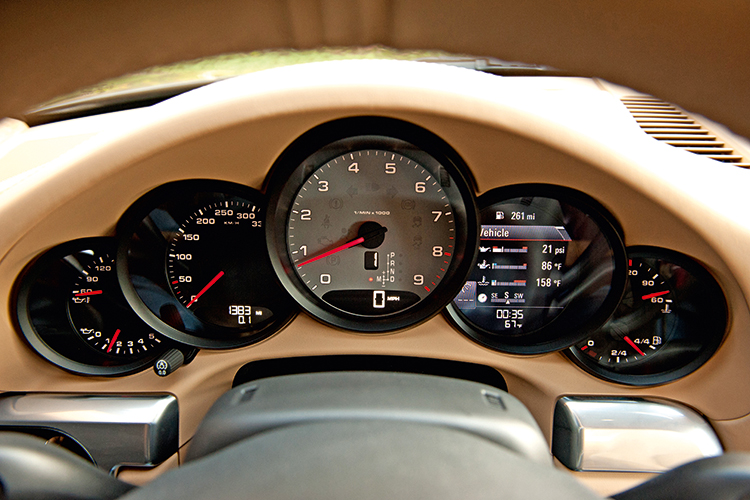 The Porsche 911's signature five-dial cluster now includes a useful multi-function digital display.