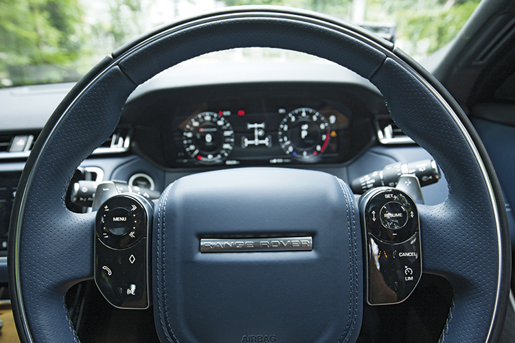 Range Rover Velar's steering wheel has nifty buttons, whose functions change according to the car's settings being adjusted.