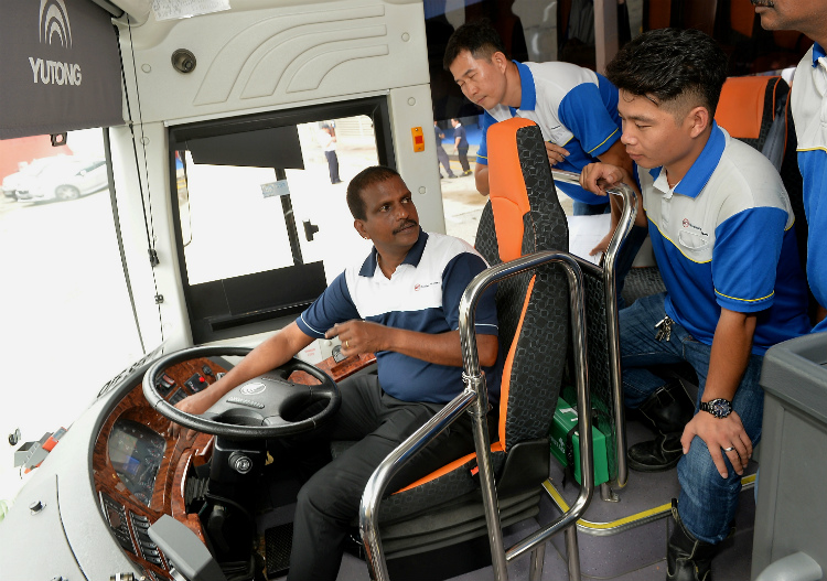 Instructor Subramaniam Kanniah, 51, conducting a work safety class for drivers at the launch of the Drive Safe, Work Safe campaign yesterday, at private transport firm Woodlands Transport.