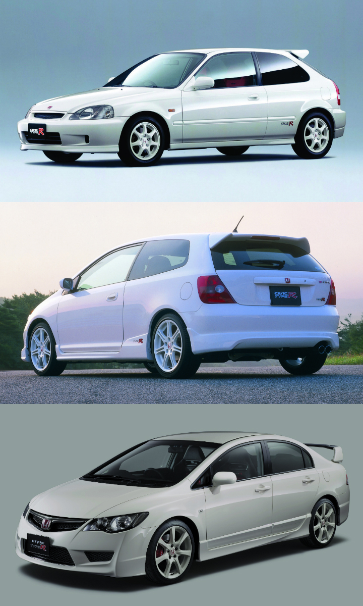 (Top to bottom) Honda's EK9, EP3 and FD2 Civic Type Rs