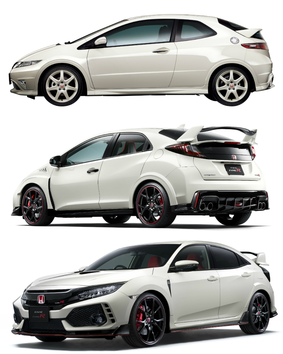 (Top to bottom) Honda's FN2, FL2 and FK8 Civic Type Rs