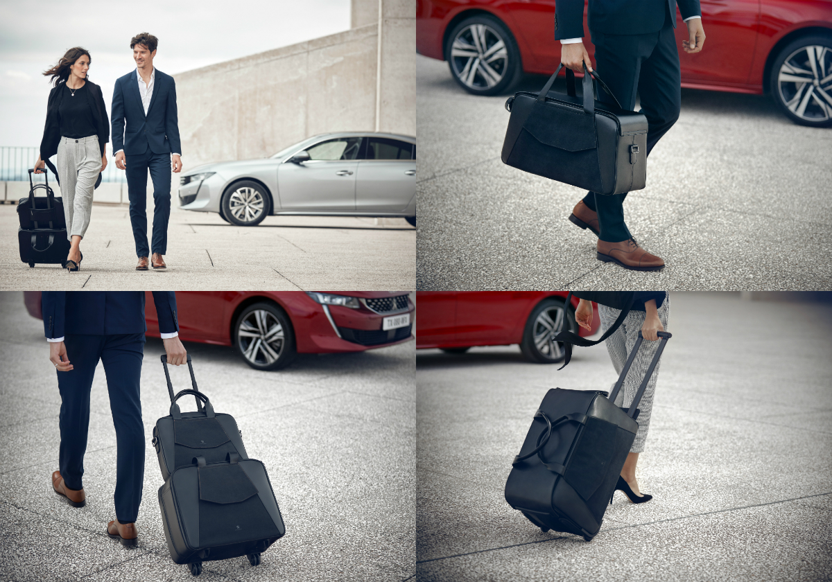 The design of the eight luggage pieces and personal leather items drew inspiration from the classy cabin of the new Peugeot 508.