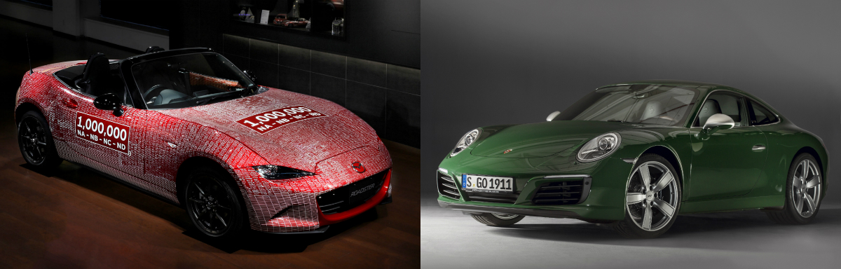 Two of the industry's most iconic sports car numbers reached their 1,000,000 production milestone one after the other – Germany's Porsche 911 last month and Japan's Mazda MX-5 last year.