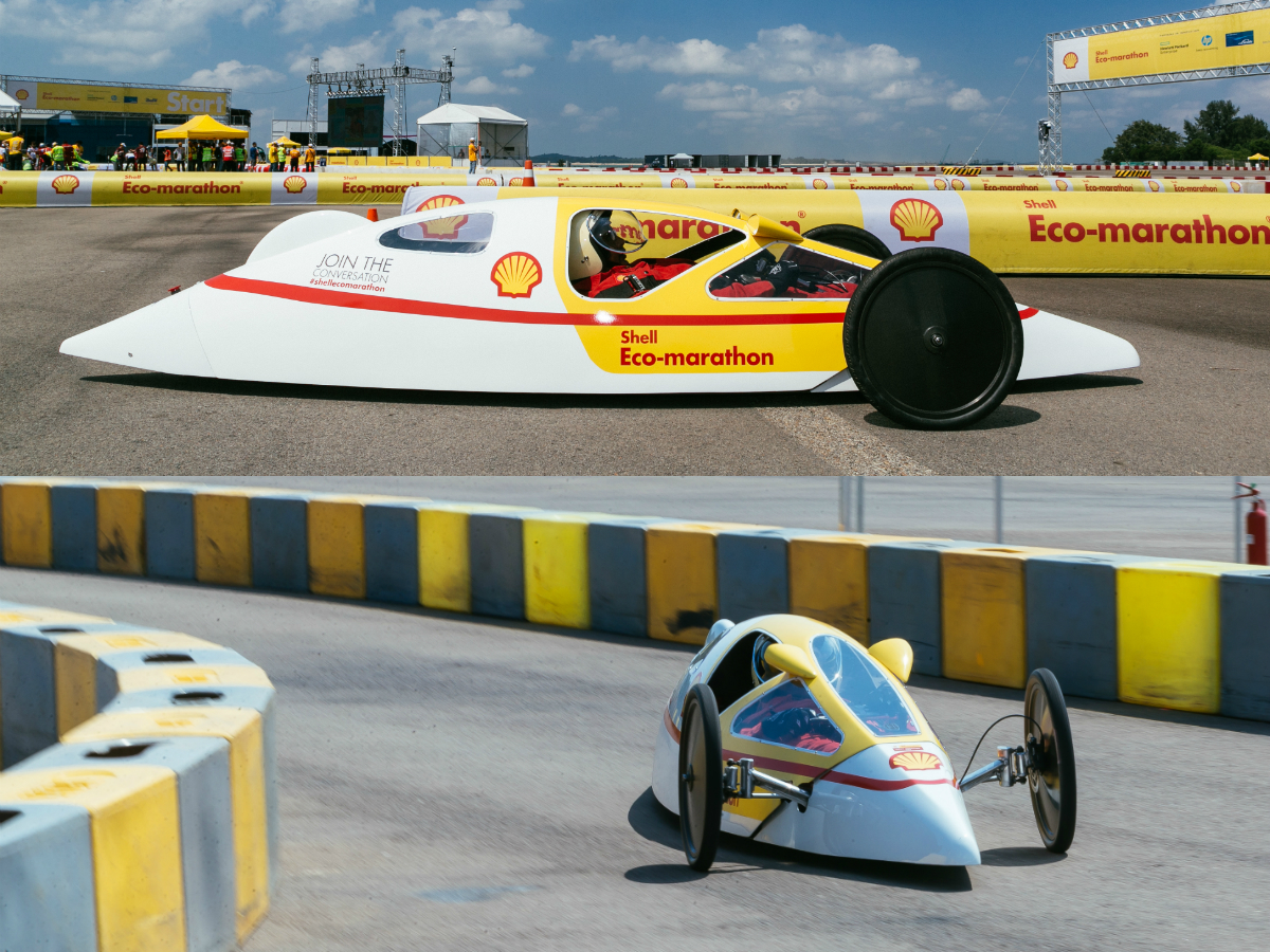 Our energetic engineer tested the Shell Eco-marathon Prototype Car, which will easily exceed 177 kilometres on every litre of fuel, at Changi Exhibition Centre.