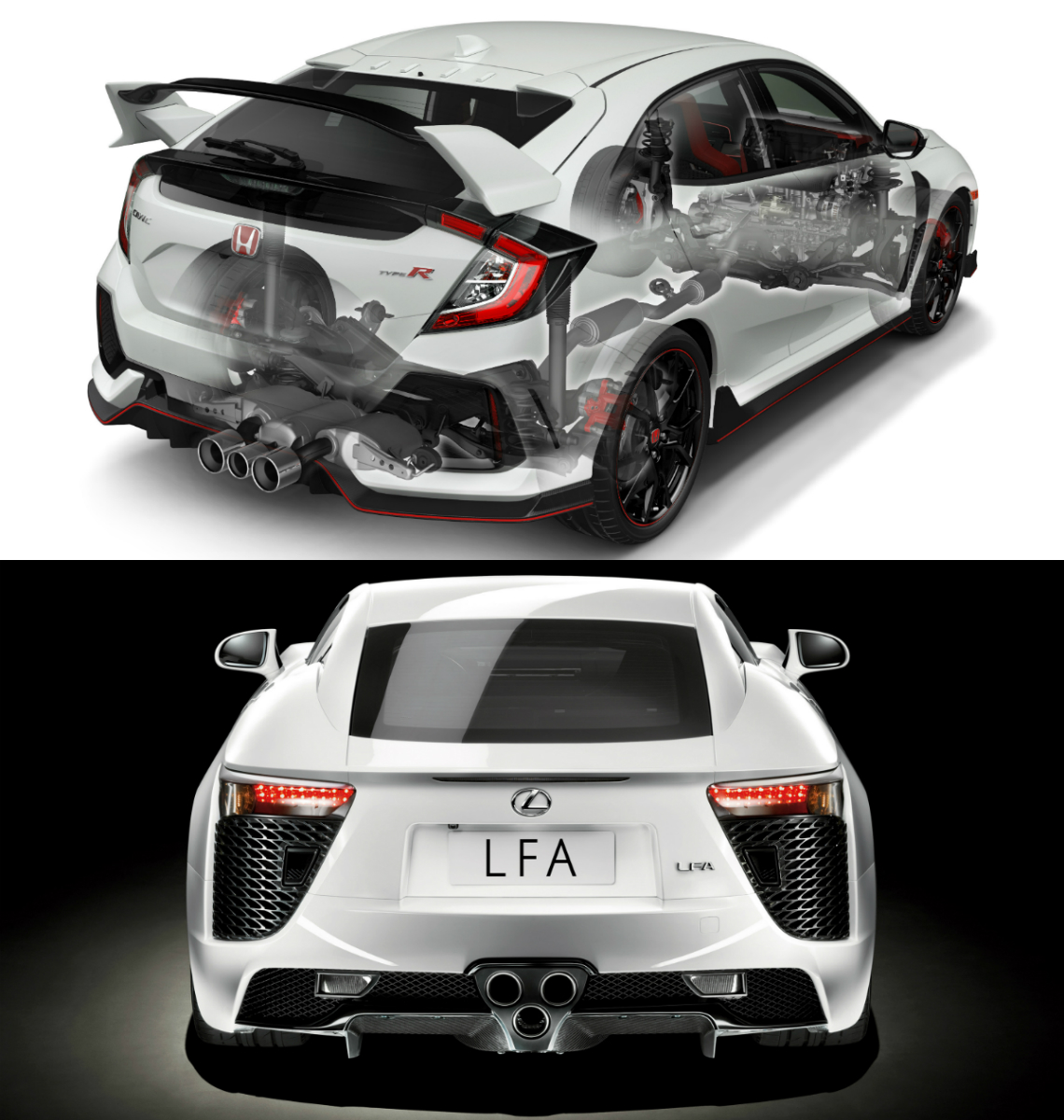 the triple-tailpipe exhaust systems of honda's fk8 civic type r hot hatch  and lexus