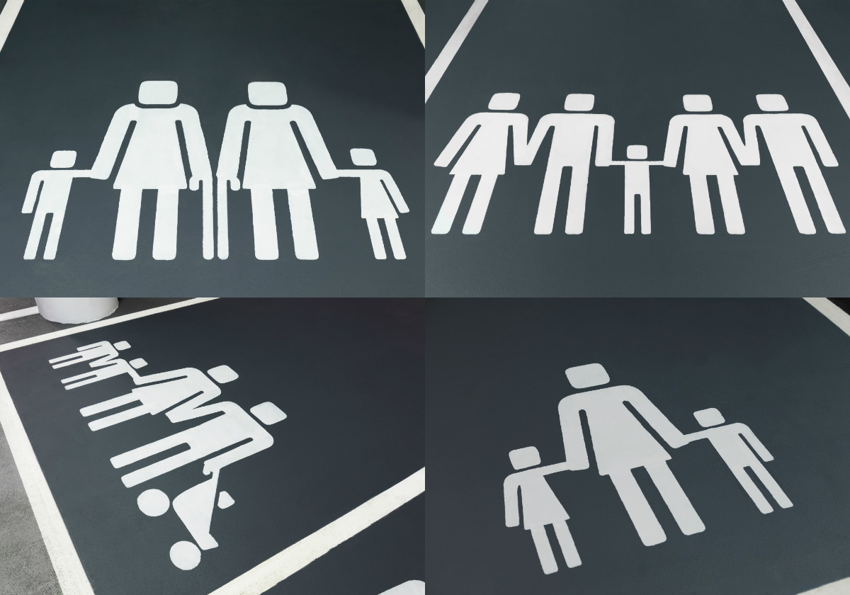 The redesigned icons at the carpark of Westfield London shopping centre in the UK feature a range of family types and celebrate the diversity of the modern motoring family.