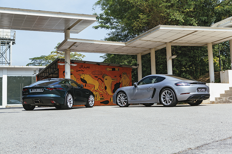 jaguar f-type and porsche 718 cayman
