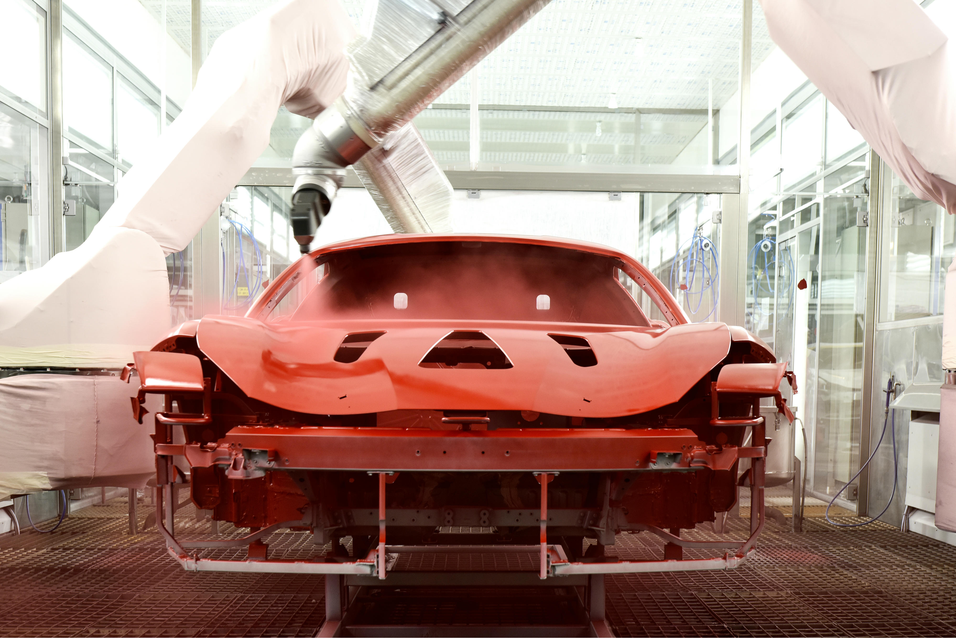 The Italian supercar marque has introduced an innovative low-temperature paint system, making Ferrari the world's first car manufacturer to adopt PPG's new Low Cure clear-coats technology.