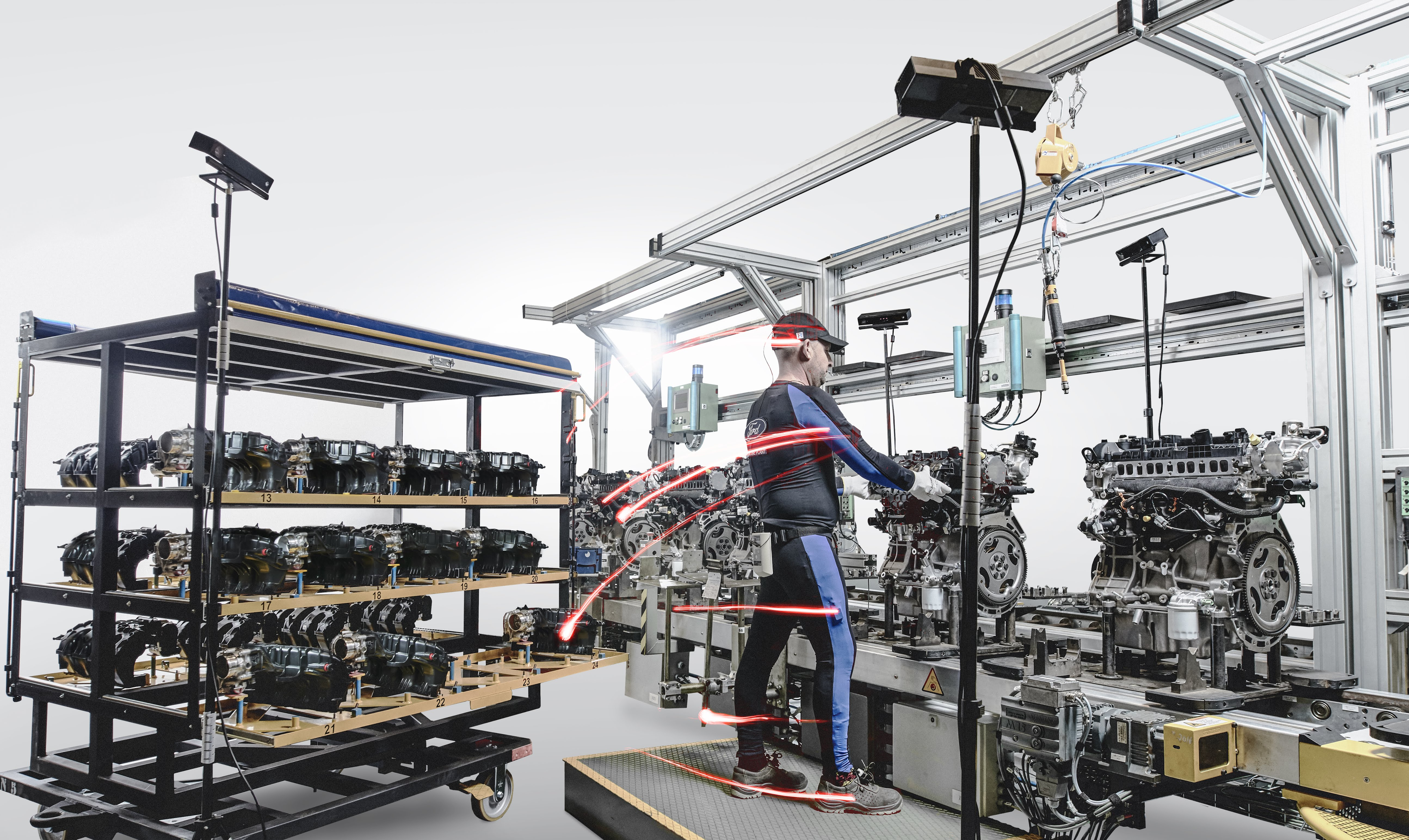 Ford employs body tracking technology on the assembly line at the Valencia engine plant, where workers wear special suits with sensors to promote good posture, just as sport stars perfect technique and replicate signature moves for video games.