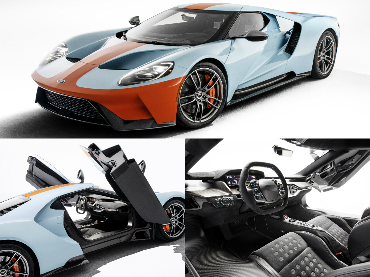 2019 Ford GT Heritage Edition celebrates 50th anniversary of the 1968 and 1969 Le Mans-winning Ford GT40 with limited-edition Gulf Oil tribute racing livery, arguably the most famous paint scheme in motor racing.