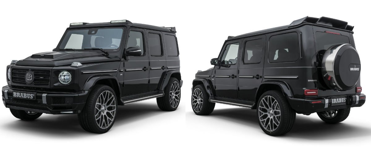 Brabus' upgrade for the new G500 gives the 4-litre V8 off-roader more oomph (500hp, 710Nm, 0-100km/h in 5.7 seconds), a striking bodykit, 23-inch high-tech forged wheels and exclusive interior options.