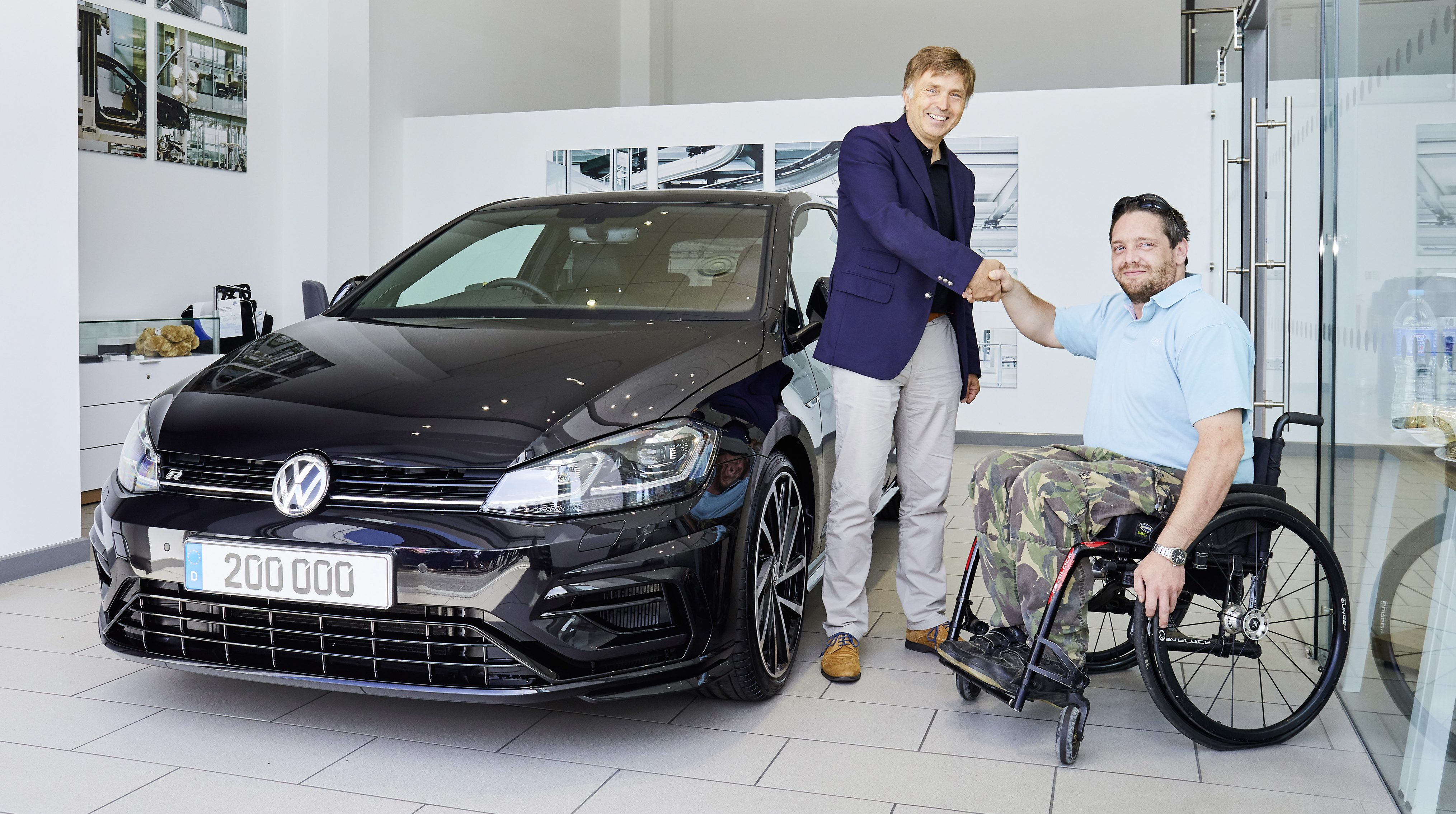 The 200,000th VW R model is a Golf R with the optional Performance Pack and Akrapovič exhaust system, with the owner being a long-time Volkswagen customer who has a Mk IV Golf R32 and a Mk V Golf GTI in his collection.