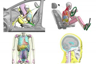 In addition to physical mannequins for crash tests, Toyota also uses its own computer programme to simulate the human body in a vehicle collision – THUMS (Total HUman Model for Safety), which is a range of digitised crash test dummies.