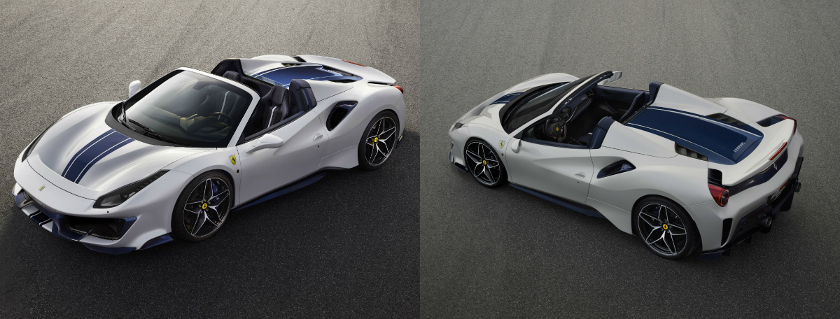 Ferrari's 488 Pista Spider is directly derived from the 488 Pista, which encapsulates all the racing experience gathered on world's circuits with the 488 Challenge and the 488 GTE, and as a result, the new Spider offers the highest level yet of technological transfer from the racetrack to a road-legal drop-top car.