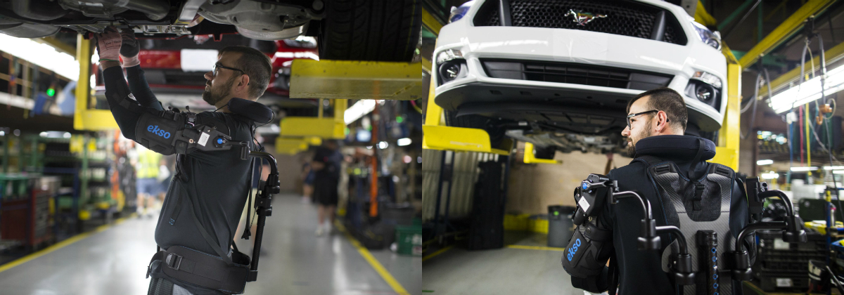 Ford employees in 15 plants and seven countries who perform repetitive overhead tasks now have assistance from a new upper-body exoskeletal technology called EksoVest, which reduces the physical toll on workers during the vehicle assembly process, lessening the chance of worker fatigue, injury or discomfort.