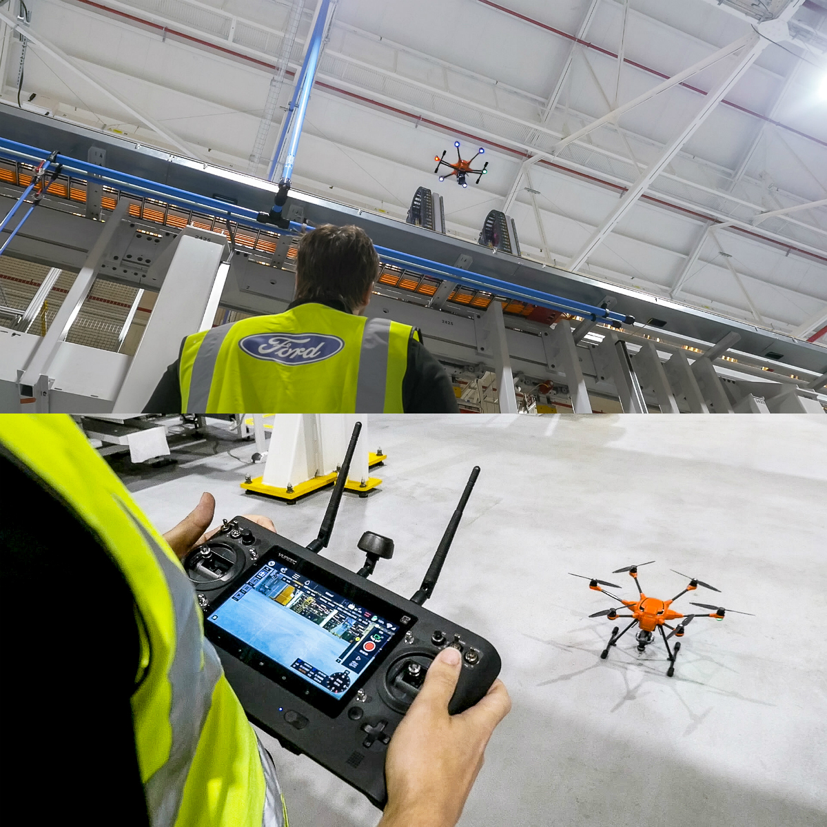 Ford employees are now using GoPro cameras mounted on drones to safely and efficiently inspect high-rise gantries, pipework and roof areas at the company's Dagenham Engine Plant in the UK, slashing the inspection time for each area from 12 hours to 12 minutes.