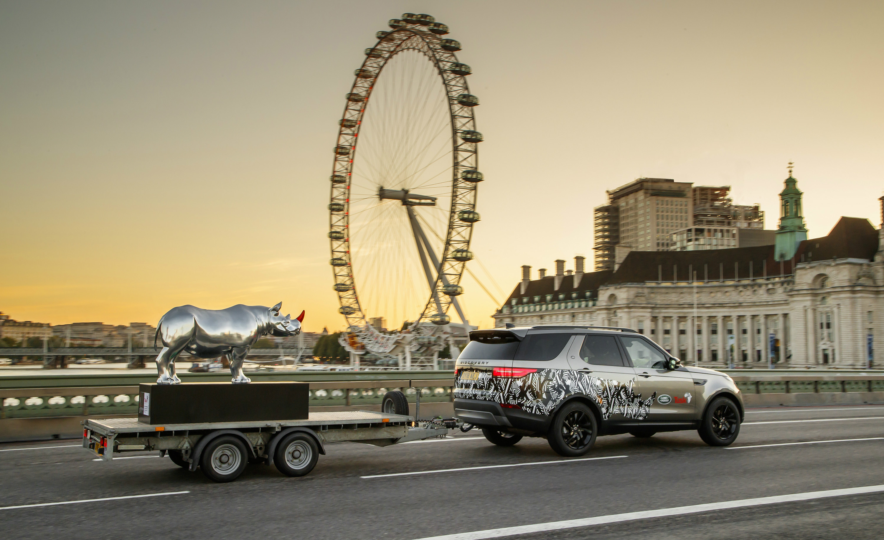 The gleaming rhino sculpture, embellished by Land Rover's chief design officer Gerry McGovern, made its debut in central London as part of the Tusk Rhino Trail to raise funds for the conservation of this endangered species.