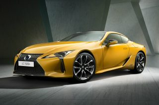 The dazzling new addition to its LC flagship coupe range sports a vibrant Flare Yellow paint finish that shows off the LC's award-winning styling to excellent effect, with the special colour theme continued in the cabin, where the black door panels are enhanced by warm yellow Alcantara inserts.