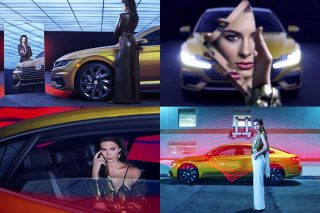 The shoot visualises the VW Arteon in a techno vibe, with retro influences and touches of classic grace, and captures the style and grace of Volkswagen's US-market flagship sedan in a modern setting.