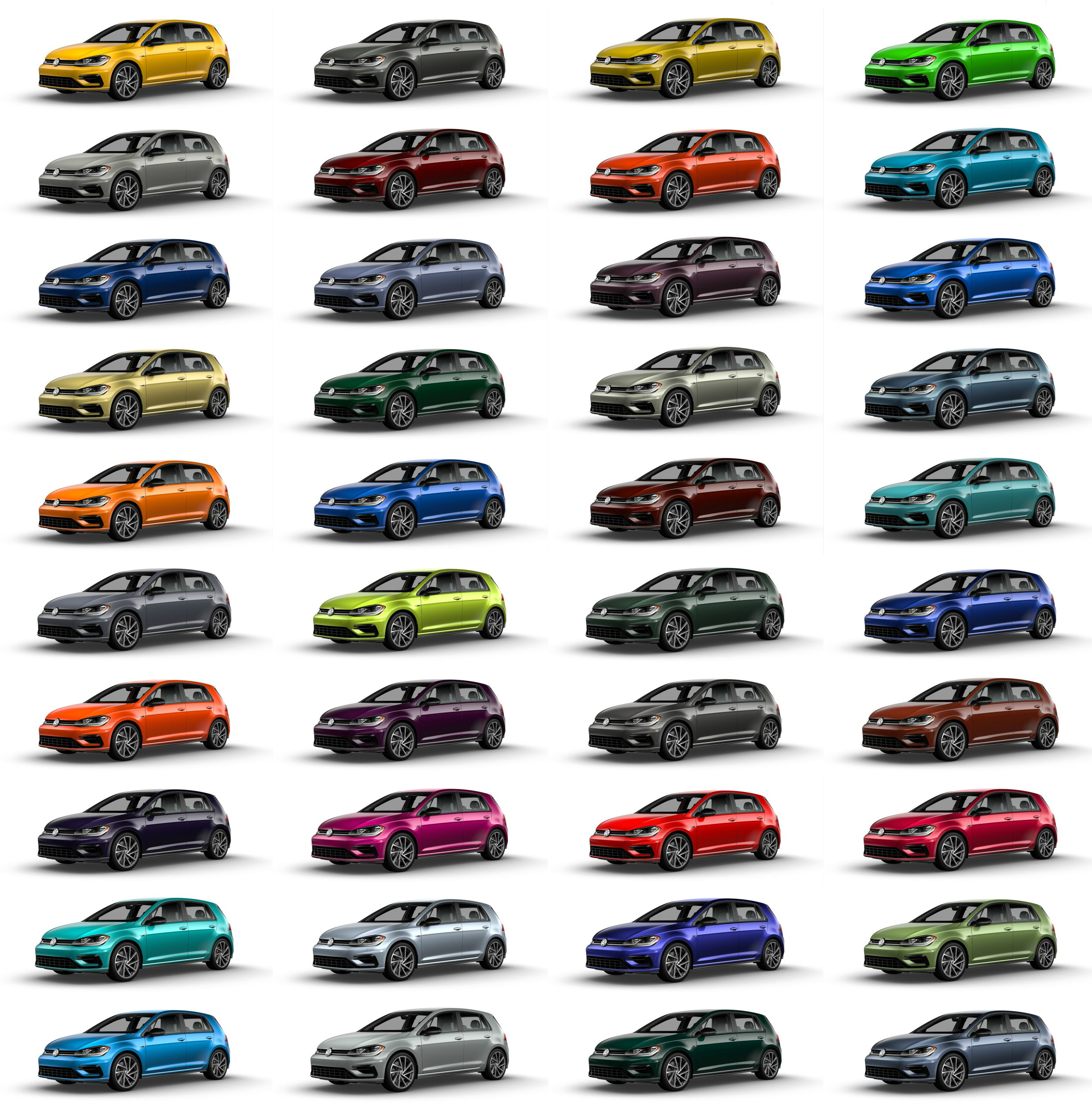 Volkswagen of America's Spektrum Programme for the 2019 Golf R hot hatch allows customers to choose from 40 custom-order colours, in addition to the five standard paint jobs available.