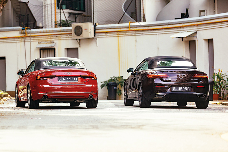 audi a5 cabriolet and mercedes-benz e200 cabriolet rear photo