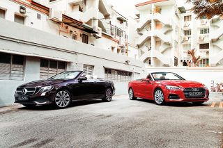 mercedes-benz e200 cabriolet and audi a5 cabriolet front