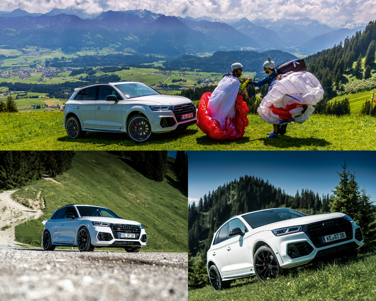 The Bavarian company ABT drove its tuned SQ5 to the top station of the Hörnerbahn cable car, with the sporty 4x4 SUV climbing up to an altitude of 1500 metres on quite challenging terrain so as to experience the dream of flying with a paraglider.