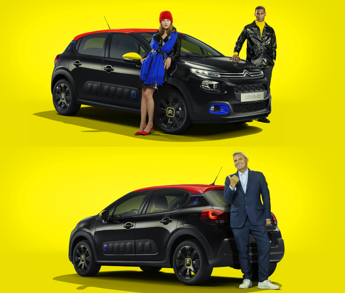 "Citroen continues its creative collaboration with Jean-Charles de Castelbajac by revealing the C3 JCC+ limited edition, an eye-catching French ""fashion car"" that displays the elegance of a black dress subtly set off in the designer's colours of red, blue and yellow."