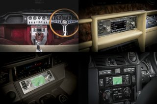 The new range of Classic Infotainment Systems provides modern audio, navigation and infotainment functionality for most classic cars, with discreet and harmonious styling, and is available in five designs including two Jaguar and two Land Rover branded units.