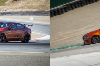 Driver Randy Pobst clocked 1 minute 37.54 seconds in the XE SV Project 8, the quickest and most powerful road-legal Jaguar ever, on the 2.2-mile course at WeatherTech Raceway Laguna Seca, Monterey, California, USA.