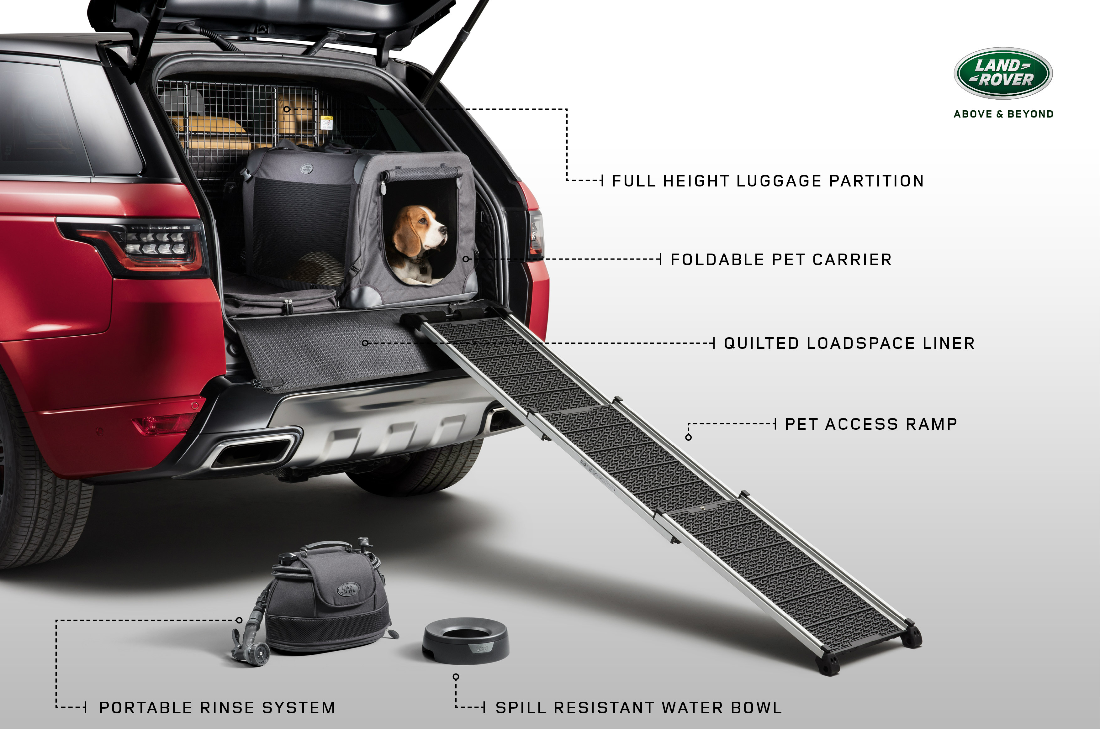 Land Rover has launched a new range of premium Pet Packs to make car journeys even more comfortable for dogs, with the Land Rover Pet Packs including accessories such as a spill-resistant water bowl, access ramp, foldable pet carrier, tailored quilted loadspace liner and portable rinse system.
