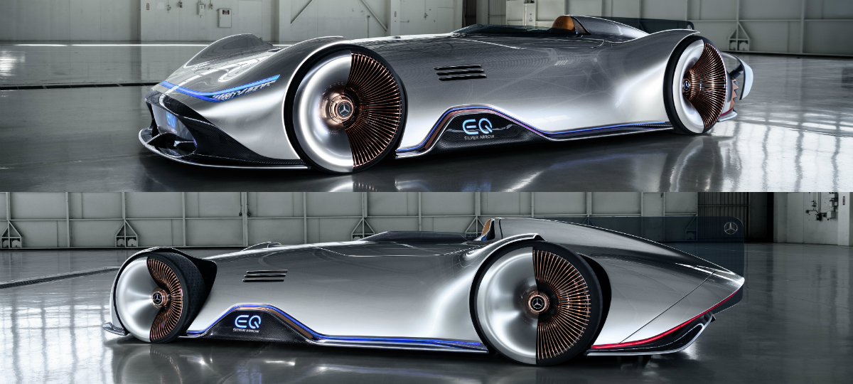 Intended for acceleration and driving pleasure, the one-seater electric concept vehicle embodies progressive luxury and is also an homage to the successful record-breaking W125 Silver Arrow racing car from 1937.