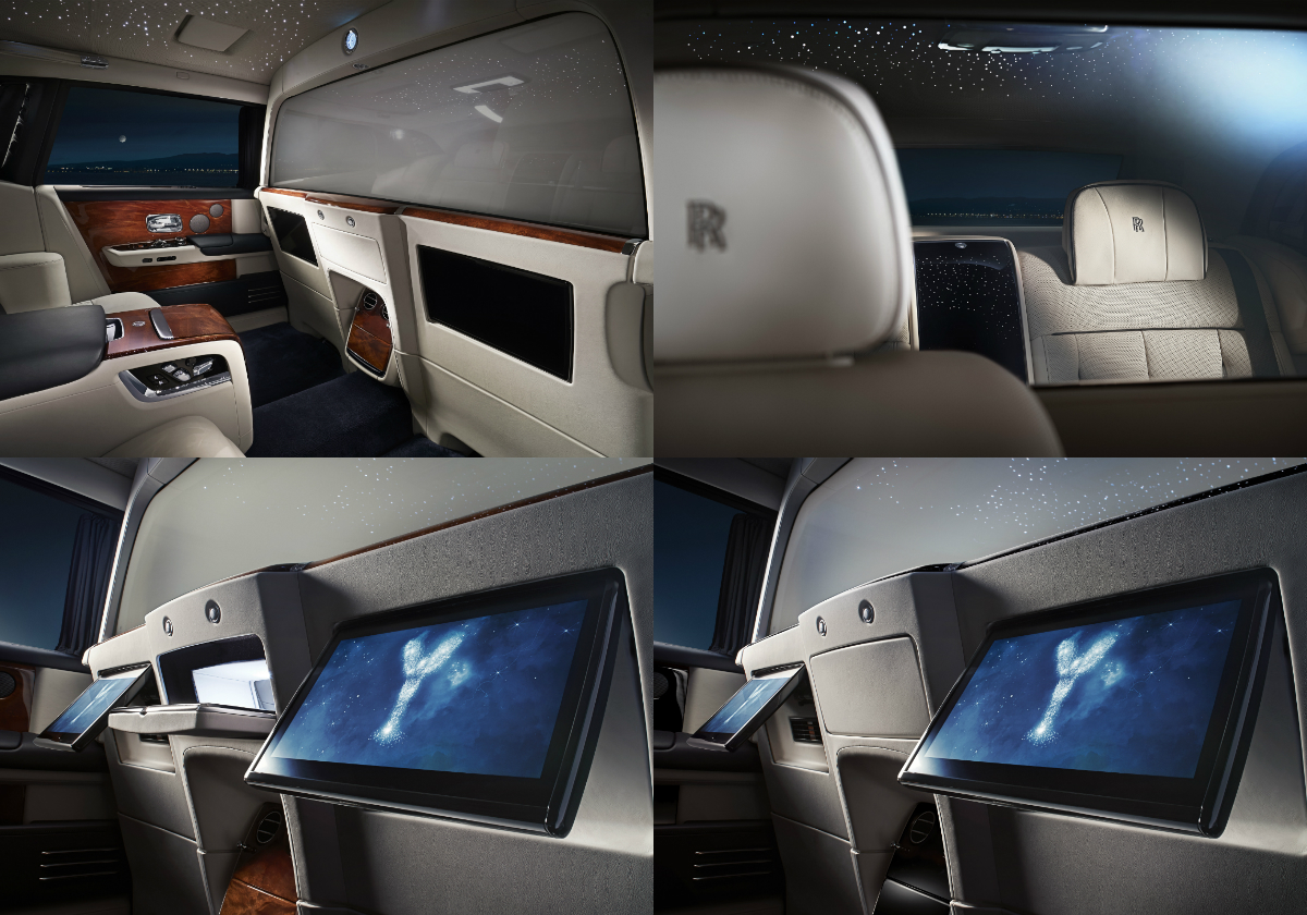 The Privacy Suite for the Rolls-Royce Phantom EWB uses electrochromatic glass to allow the front and rear cabins to be visually separated at the touch of a button, while also delivering the highest possible levels of acoustic insulation.