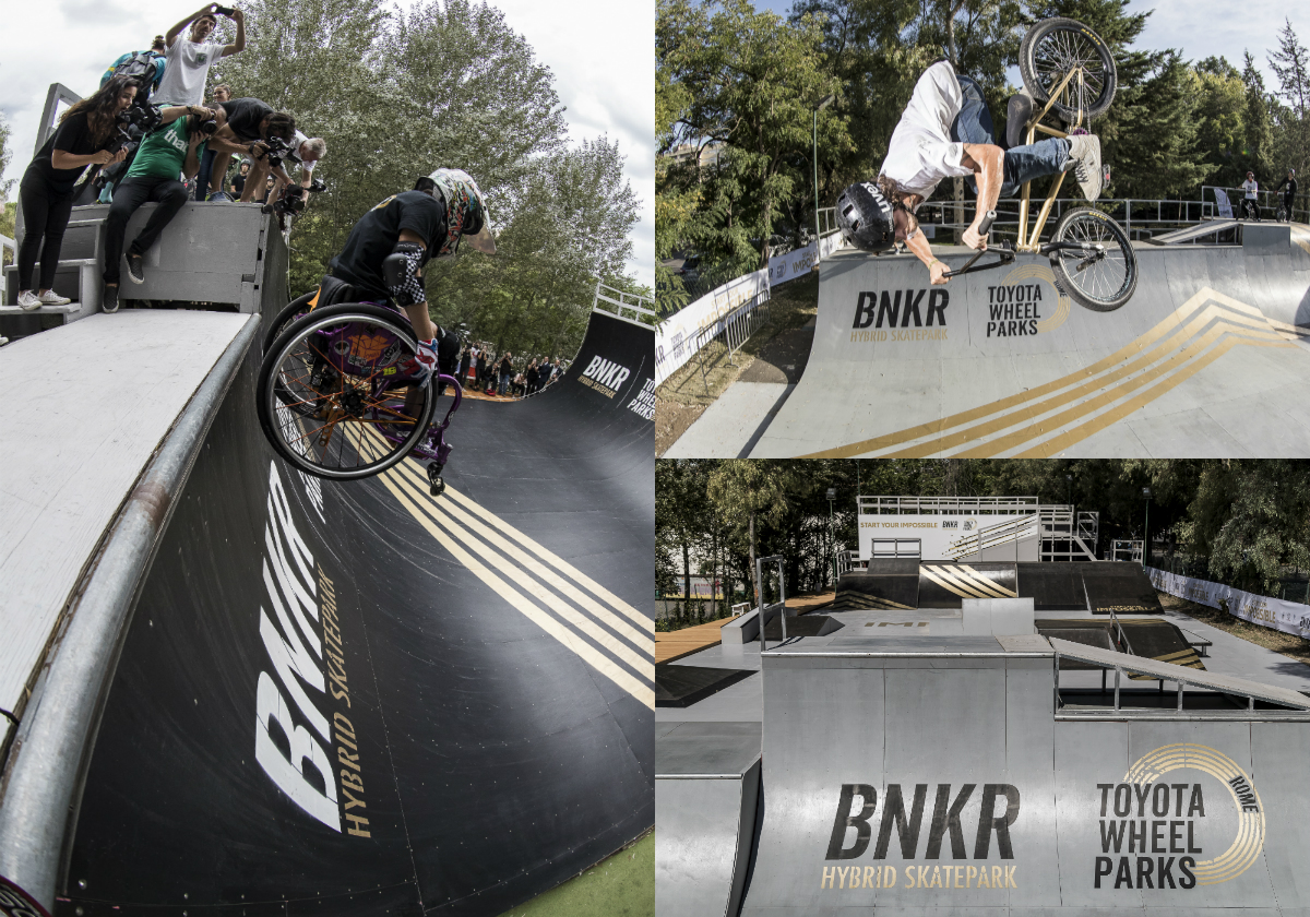 Toyota Wheel Park in Rome is the first accessible wheel park that brings together both adaptive and non-adaptive wheeled action sports into a single facility, and it will host a number of wheeled Freesports, including BMX (Bicycle Moto Cross), Skateboarding and WCMX (WheelChair Moto Cross).