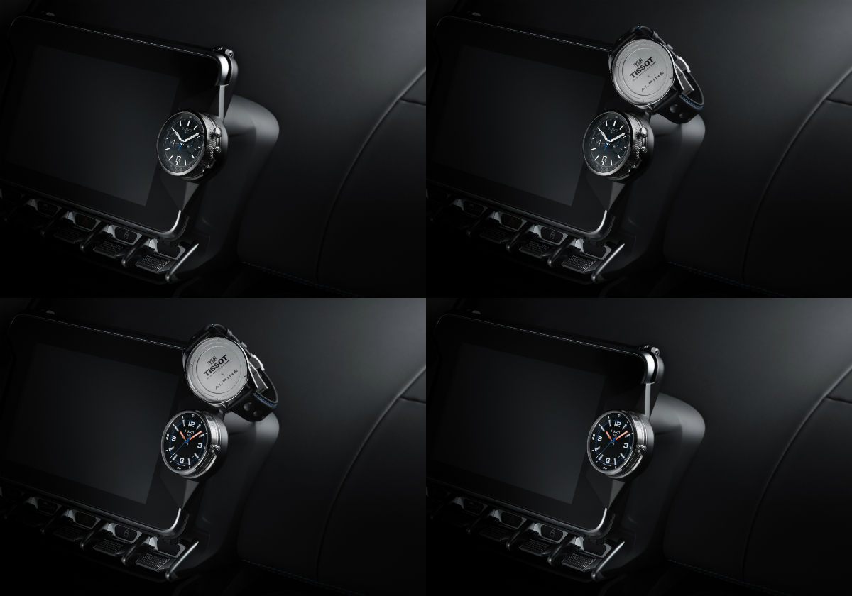 Tissot's Alpine On Board Automatic and Alpine On Board Quartz each has a watch case which can be easily detached from its bracelet and affixed upon the Alpine A110's dashboard thanks to a support made from a special aluminium.