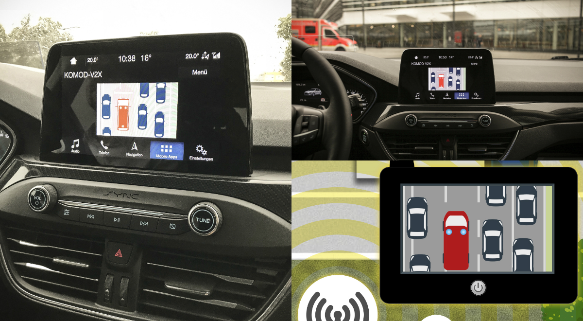 Ford and Vodafone are testing connected vehicle tech that can automatically warn other drivers of accidents ahead and shows how to get out of the way of emergency vehicles such as fire engines, ambulances and police cars.