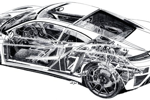 Unique, hand-drawn pencil sketch by legendary automotive illustrator Shin Yoshikawa, who is celebrated around the world for his artwork, exposes hidden elements of Honda's hybrid supercar.