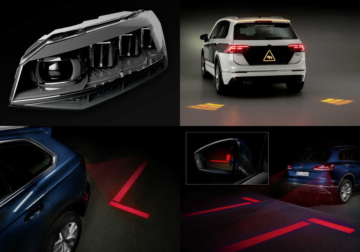 Future lighting systems for cars will project 3D holograms containing information onto the road and into the virtual space, with Volkswagen's in-house centre of lighting excellence testing the possibilities.