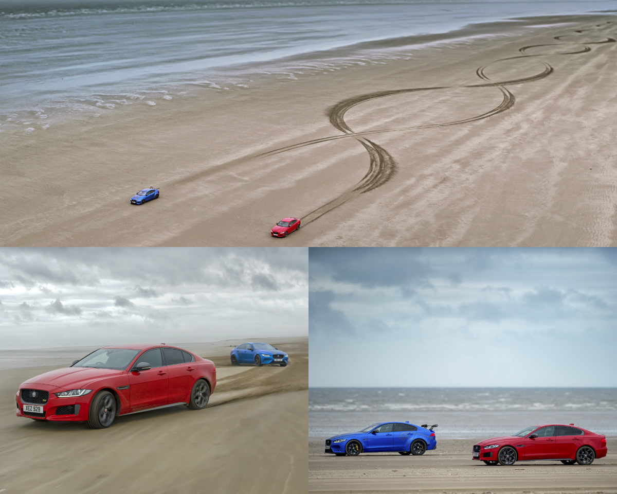 Jaguar XE300 Sport and XE SV Project 8 showcase their shared bloodline by creating a 1000-metre long double helix pattern on Pendine Sands, Wales, UK, demonstrating their exceptional dynamics and agile handling as they criss-cross on the sand.