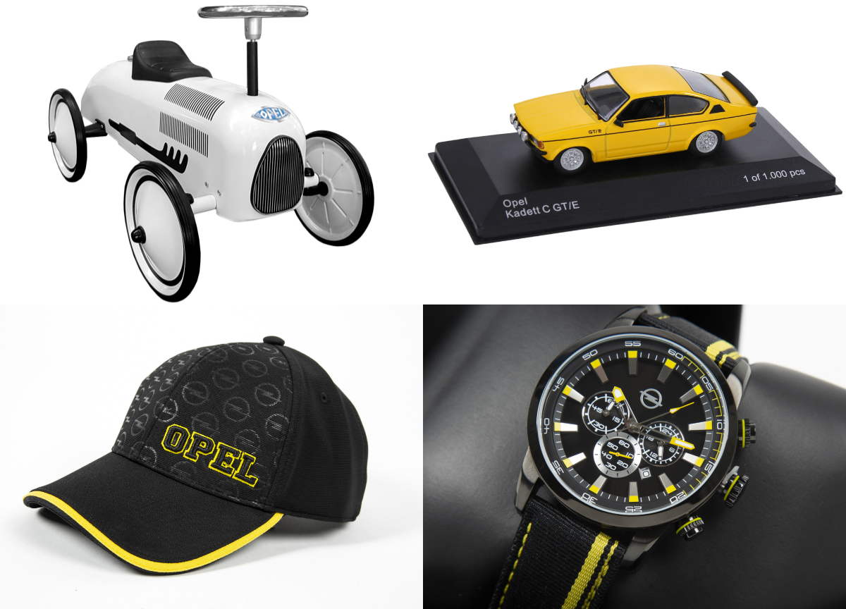 Opel's new additions to its lifestyle collection for young and old include ride-on RAK 2 toy car, Opel teddy bear, motorsport hoodie and collector's scale models.
