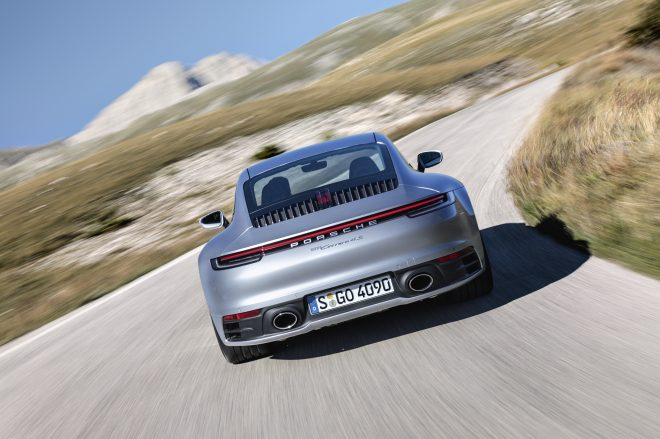 The new Porsche 911 at the rear