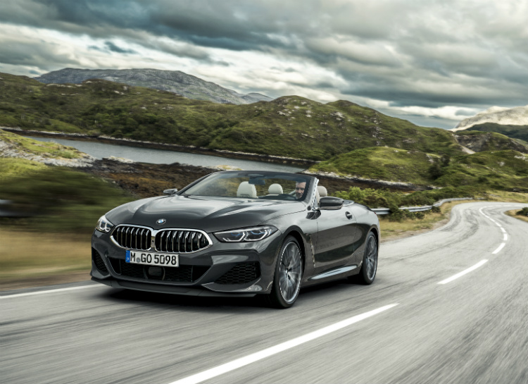 bmw 8 series convertible driving front