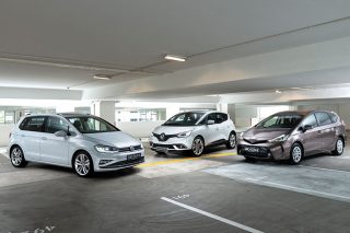 volkswagen golf sv, renault scenic and toyota prius+ front