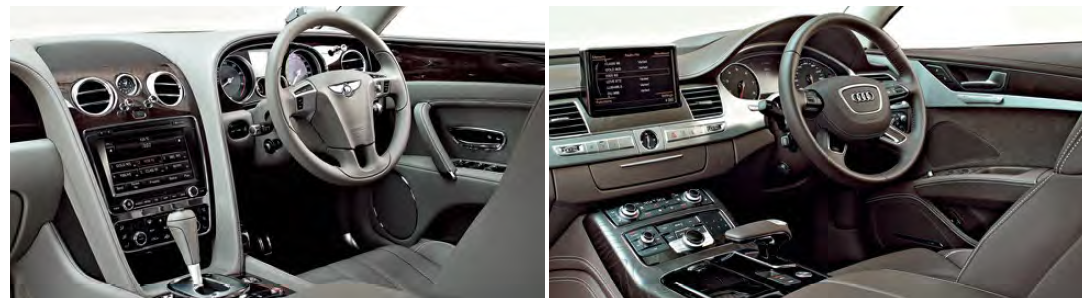 "The Audi's interior (right) is more ""technical"", while the Bentley's (left) oozes ""classical"" charm."