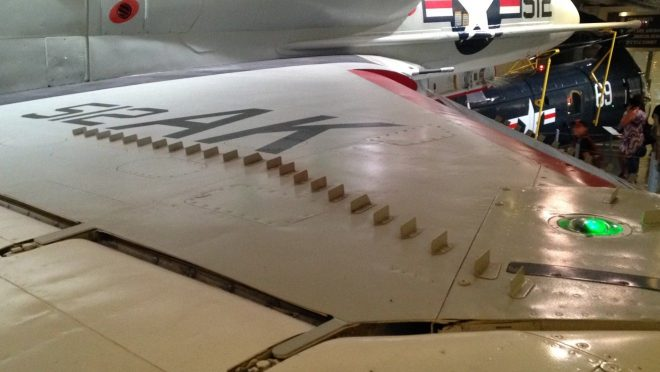 vortex generator on an aircraft wing