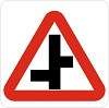 Staggered junction road sign