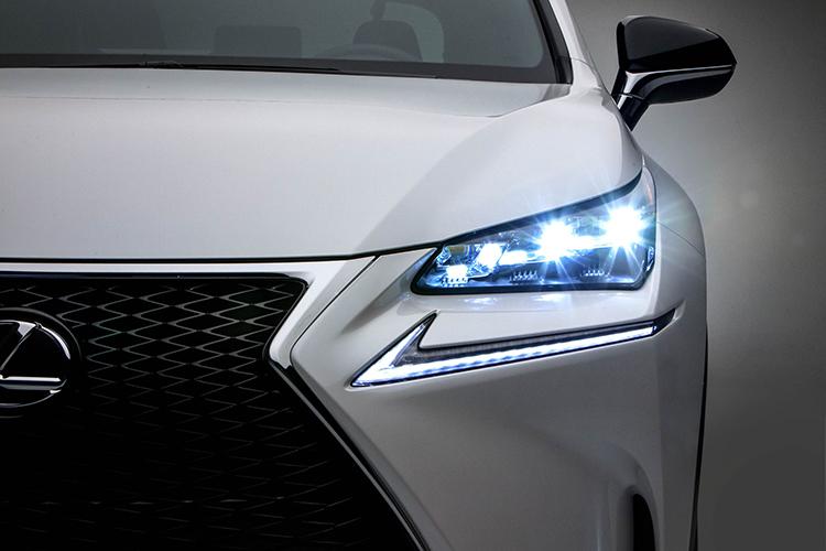 led headlight on a Lexus NX200t